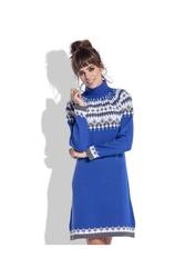 Chabrowa sukienka z golfem w skandynawskie wzory