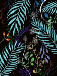 Wzór liście - plakat wymiar do wyboru: 40x50 cm