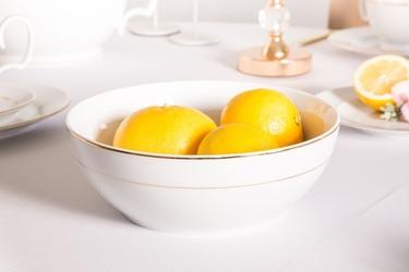 Salaterka okrągła porcelana mariapaula złota linia 23 cm