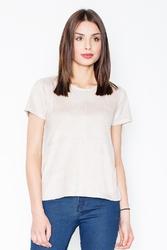 Beżowa prosta zamszowa bluzka z przeszyciami