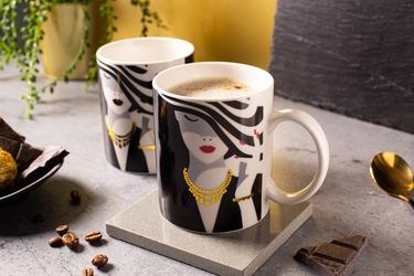 Kubek do kawy i herbaty porcelanowy altom design modern woman 300 ml, dekoracja d  zmieniająca kolor