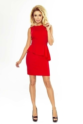 Czerwona sukienka wizytowa z baskinką