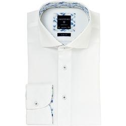 Elegancka biała koszula profuomo slim fit z kontrasowym wykończeniem kołnierzyka 40