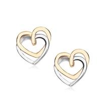 Staviori kolczyki serca żółte, białe złoto 0,585. wymiary 9,1x8,1 mm.