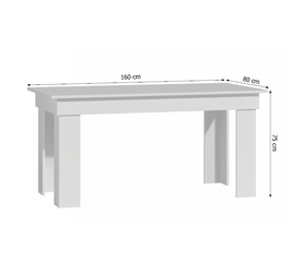 Stół kuchenny bexar 160x80 cm biały