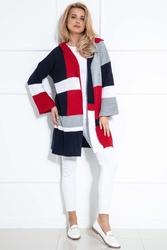 Granatowy kolorowy płaszczowy kardigan z kapturem