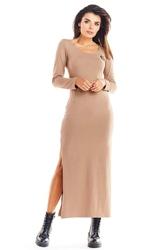 Beżowa długa dzianinowa sukienka z rozcięciami na bokach