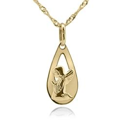 Złoty medalik w kształcie łezki z aniołkiem pr. 585 grawer