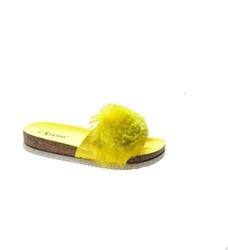 Pantofelek24.pl   damskie klapki z pomponem yellow