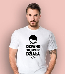 Dziwne  działa  t-shirt męski biały xl