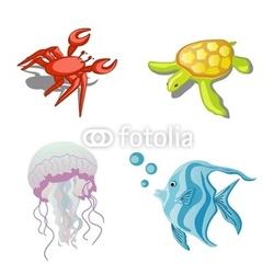 Obraz na płótnie canvas czteroczęściowy tetraptyk Zwierzęta morskie, kraby, meduzy, żółwie i ryby