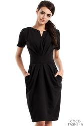 Czarna Marszczona Sukienka z Kieszeniami