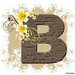 Board z aluminiowym obramowaniem żółty, hibiskus, vintage, alfabet, b