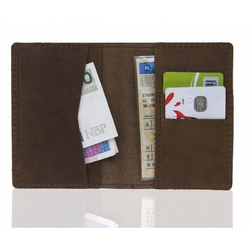 Super cienki portfel ze skóry brodrene sw05 jasny brąz