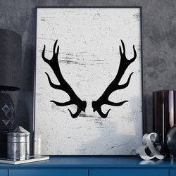 Rogi - plakat designerski , wymiary - 40cm x 50cm, ramka - biała