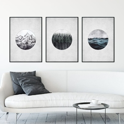 Zestaw trzech plakatów - nature elements , wymiary - 50cm x 70cm 3 sztuki, kolor ramki - biały