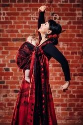 Żakardowa chusta do noszenia dzieci, tkanina bawełniana, symfonia flamenco