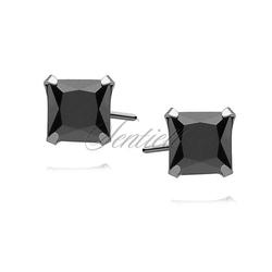 Srebrne kolczyki pr.925 cyrkonia czarna 6 x 6mm kwadratowe
