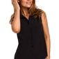 Czarna koszulowa bluzka bez rękawów