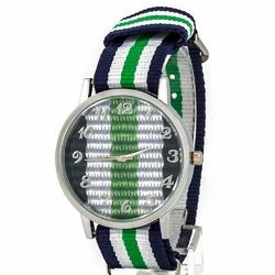 ZEGAREK srebrny NYLONOWY paski ZIELONY granatowy - zielony I