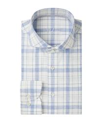 Męska niebieska koszula w kratę z recyklingu popelina 45