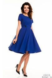 Niebieska Sukienka z Krótkim Rękawem