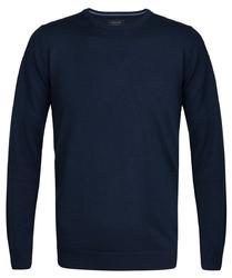 Elegancki granatowy sweter prufuomo originale z delikatnej wełny merynosów z okrągłym kołnierzem m
