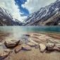 Gaube lake francja piereneje - plakat premium wymiar do wyboru: 59,4x42 cm