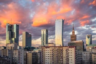 Warszawa wieżowce warszawskie city - plakat premium wymiar do wyboru: 91,5x61 cm