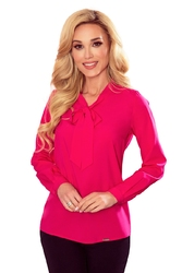 Bluzka elegancka z wiązaną szarfą w kolorowe ważki - malilnowa
