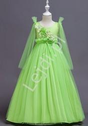 Limonkowa tiulowa długa sukienka dla dziewczynki 152