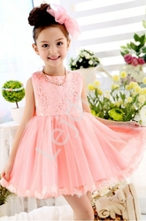Koronkowa różowa sukienka dla dziewczynki, na chrzest, wesele