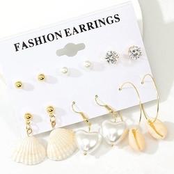 Kolczyki zestaw muszle cyrkonie perły złote 6 par