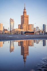 Warszawa poranek - plakat premium wymiar do wyboru: 30x40 cm