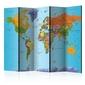 Parawan 5-częściowy - kolorowa geografia parawan