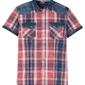 Koszula z krótkim rękawem slim fit bonprix czerwony w kratę