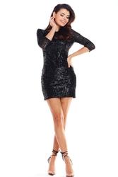 Czarna dopasowana sukienka cekinowa z dekoltem typu woda