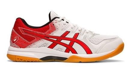 Buty sportowe męskie asics gel-rocket 9 czerwono-białe syntetyczne - biały    czerwony