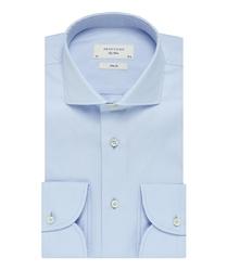 Elegancka błękitna koszula taliowana slim fit z włoskim kołnierzykiem 42