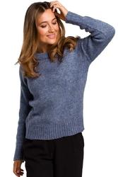 Niebieski Klasyczny Sweter z Długim Rękawem