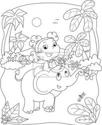 Fototapeta kolorowanie ilustracji dziewczyna jedzie na słonia