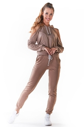Dresowe spodnie z cienkiej dzianiny - beżowe