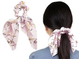 Gumka do włosów apaszka kwiaty różowa scrunchies