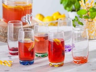 Szklanki do napojów z kolorowym dnem  glasmark long drink 350 ml, komplet 6 szt.