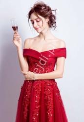 Luksusowa tiulowa suknia wieczorowa z dekoltem typu carmen 0006