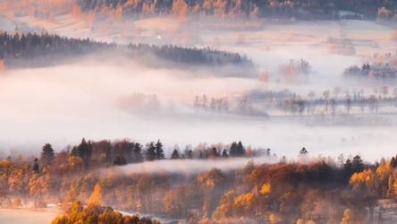 Rudawy janowickie, mglisty ranek - plakat premium wymiar do wyboru: 30x20 cm