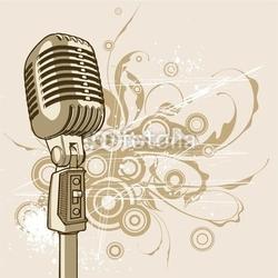 Obraz na płótnie canvas dwuczęściowy dyptyk vintage mikrofon