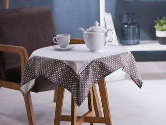 Obrus  serweta na stół kwadratowy altom design bawełniany biały z wykończeniem w kropki 80 x 80 cm