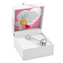 Grzechotka srebrna 925 pamiątka na chrzest grawer różowa kokardka - białe z różową kokardką