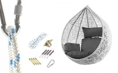 Fotel wiszący bujany kosz huśtawka kokon gniazdo biały mocowanie